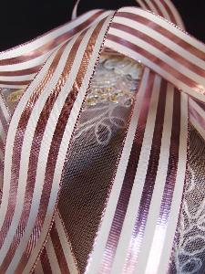 "Rose Gold & Ivory Metallic Striped Ribbon - 1 1/2"" x 25 yards"