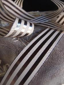 "Platinum & Ivory Metallic Striped Ribbon - 1 1/2"" x 25 yards"