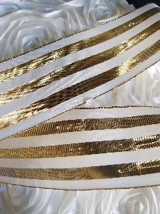 "Gold & Ivory Metallic Striped Ribbon - 2 1/2"" x 10 yards"