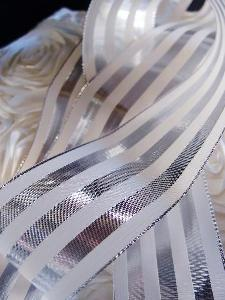 "Silver & Ivory Metallic Striped Ribbon - 2 1/2"" x 10 yards"