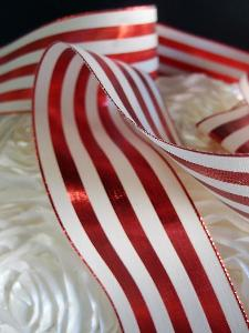 "Red & Ivory Metallic Striped Ribbon - 2 1/2"" x 10 yards"