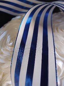 "Blue & Ivory Metallic Striped Ribbon - 2 1/2"" x 10 yards"
