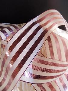 "Rose Gold & Ivory Metallic Striped Ribbon - 2 1/2"" x 10 yards"