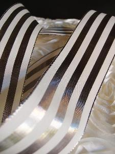 "Platinum & Ivory Metallic Striped Ribbon - 2 1/2"" x 10 yards"