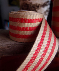 Red Striped Faux Burlap Ribbon