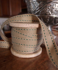 Faux Burlap Green Saddle Stitch Ribbon