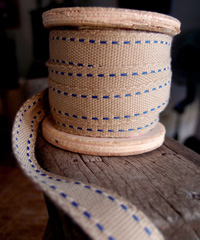 Faux Burlap Blue Saddle Stitch Ribbon