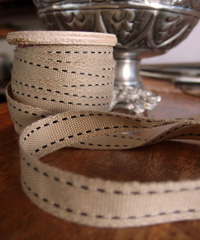 Faux Burlap Black Saddle Stitch Ribbon
