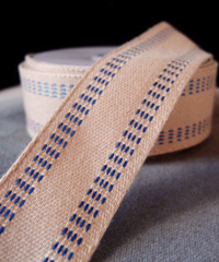Faux Burlap Webbing with Blue Stitching