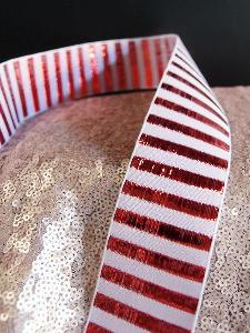 "Metallic Candy Striped Ribbon - 1 1/2"" x 25 yards"