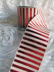 "Red Metallic Candy Striped Ribbon - 2½""W x 10Y"