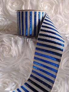 "Royal Blue Metallic Candy Striped Ribbon - 2 ½""W x 10Y"