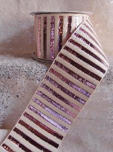 "Rose Gold Metallic Candy Striped Ribbon - 2 ½""W x 10Y"