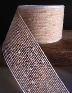 "Ivory Tufted Cotton Mesh Ribbon   - 1.5"" x 25Y"