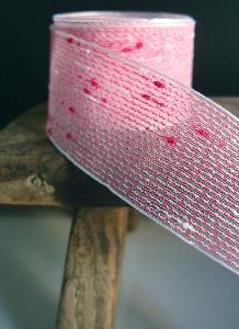 "Hot Pink Tufted Cotton Mesh Ribbon  1.5 x 25Y - 1.5"" x 25Y"