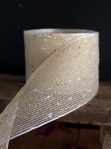"Gold Tufted Cotton Mesh Ribbon  - 2.5"" x 10Y"