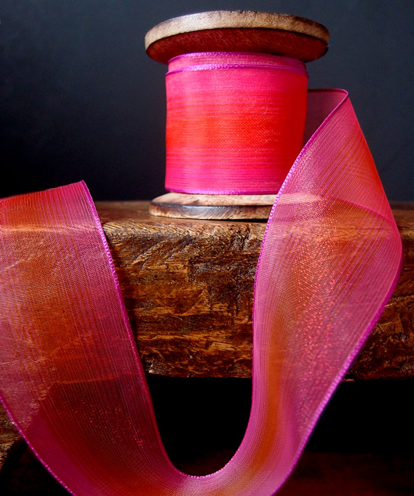 Sheer Two Tone Iridescent Wired Ribbon