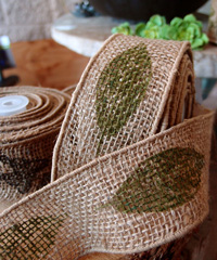 Wired Burlap Jute Ribbon with Green Leaf Print