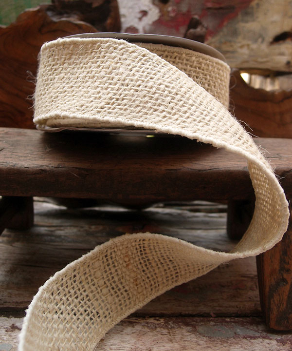 Bleached White Burlap Wired Ribbon - 3 rolls minimum