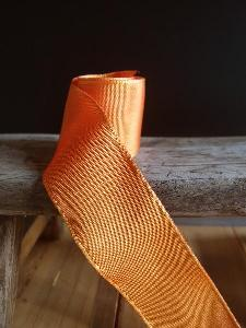 Orange Two-toned Grosgrain Ribbon with Wired Edge