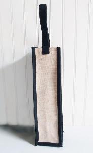 "Jute Blend Wine Bag with Black Handle - 4"" x 4"" x 14"""