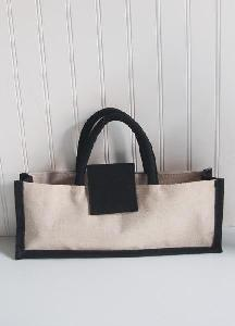"Jute Blend Wine Tote with Black Trim - 14""W x 5""H x 3""D"