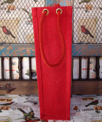 "Red Jute Wine Bag - 4"" x 4"" x 14"""