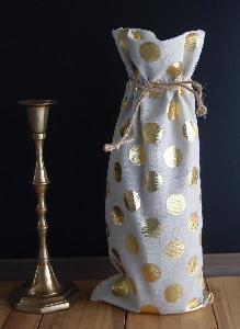 "Linen Wine Bag with Gold Metallic Dots  - 6"" x 14"""