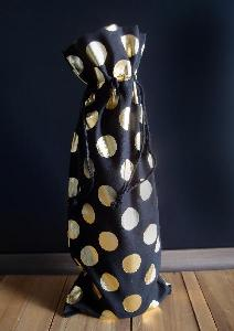 "Black Cotton Wine Bag with Gold Metallic Dots  - 6"" x 14"""