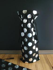 "Black Cotton Wine Bag with Silver Metallic Dots  - 6"" x 14"""