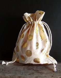 "Cotton Bag with Big Gold Metallic Dots  7x9 - 7"" x 9"""