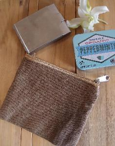 "Brown Canvas Flat Zipper Pouch Small - 5.5""W x 4.5"""