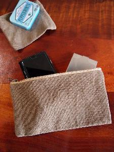 "Brown Canvas Flat Zipper Pouch Large - 9.25""W x 5"""