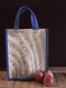 "Jute Tote with Navy Blue Trim - 12"" x 14"" x 7"""