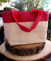 "Small Jute Cotton Blend Tote with Red Burlap Accents - 11 1/2""W x 7 1/2""H x 4 1/2""D"