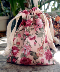 "Vintage Floral Print on Ivory Bag with Cotton Drawstrings - 3"" x 4"""