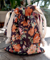 "Vintage Floral Print on Black Bag with Cotton Drawstrings - 3"" x 4"""
