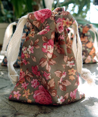"Vintage Floral Print on Brown Bag with Cotton Drawstrings - 3"" x 4"""