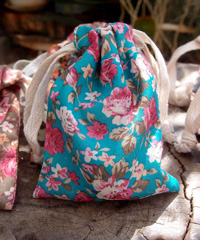 "Vintage Floral Print on Light Blue Bag with Cotton Drawstrings - 3"" x 4"""