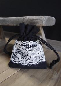 "Black Cotton Bag with Lace - 3"" x 4"""
