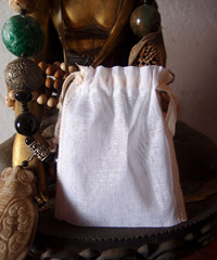 "Natural Muslin Bags with Ivory Serged Edge - 3"" x 4"""