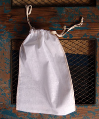 "Natural Muslin Bags with Ivory Serged Edge - 8"" x 12"""