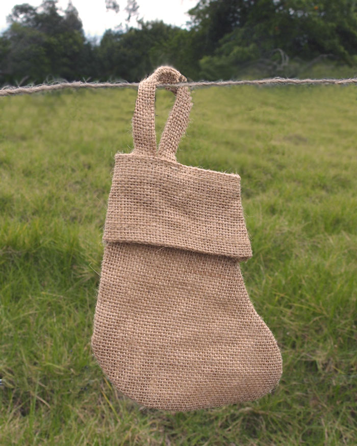 Natural Burlap Christmas Stocking 6 inch