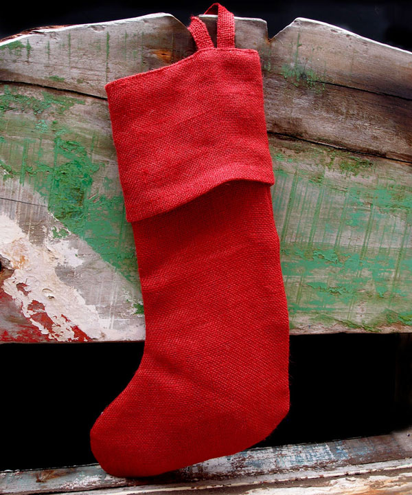 Red Burlap Christmas Stocking 16 inch