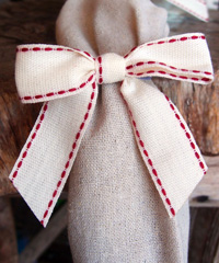 Canvas Pre-tied Bow with Stitching