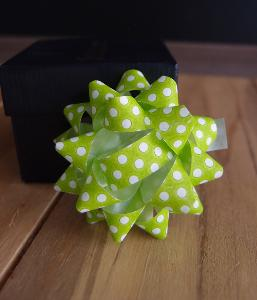 "Green & White Dots 2"" Star Bows - 2"" Star Bows"
