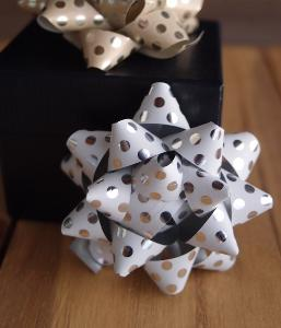 "White with Metallic Silver Dots 2"" Star Bows - 2"" Star Bows"
