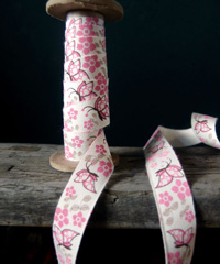 Pink Butterfly Printed Cotton Ribbon