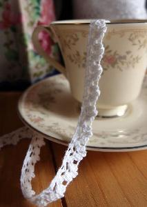 "White Cotton Lace Ribbon - 3/8"" x 10Y"