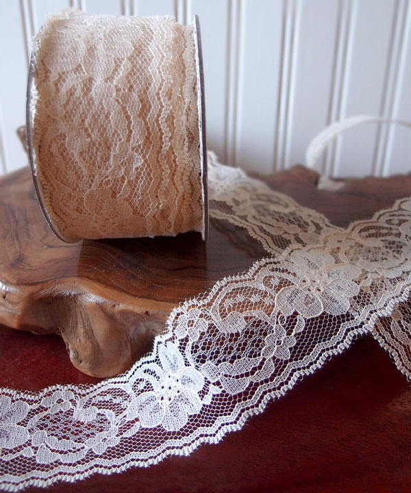 "Ivory Chantilly Lace Ribbon - 2"" x 25Y"
